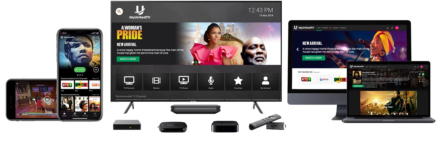 MyUnitedTV - Watch the best African TV channels on Roku,AndroidTV,IOS or Amazon fireTV Live! Lannding-Devices Home